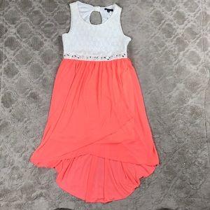 My Michelle Sleeveless Crochet Dress Coral High Lo
